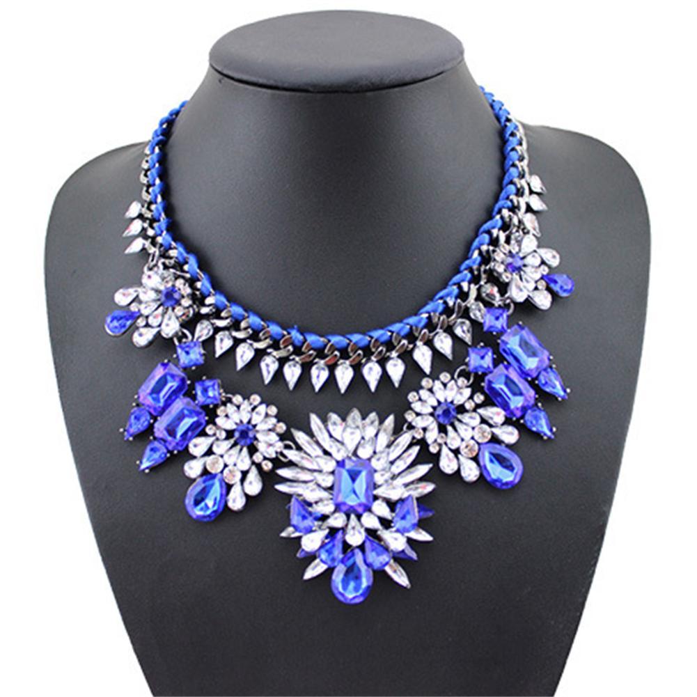 Aspire Women's Bright Crystal Gemstone Rope Bib Choker Statement Necklace