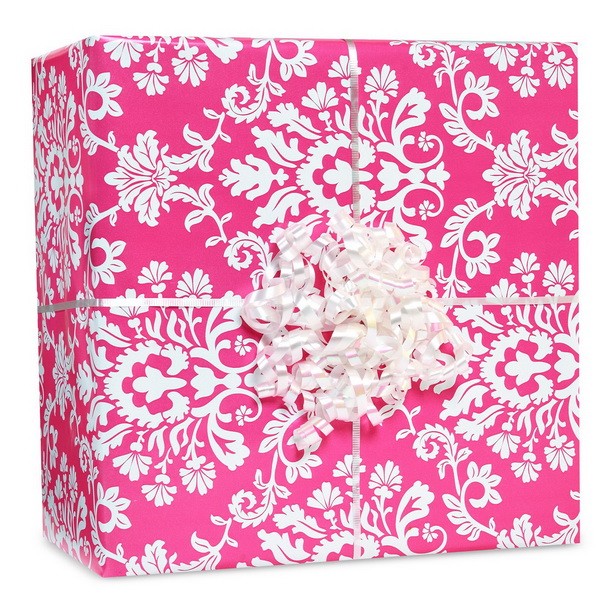 Amscan 227410 Bright Pink Brocade Gift Wrap Kit - Color: Rainbow