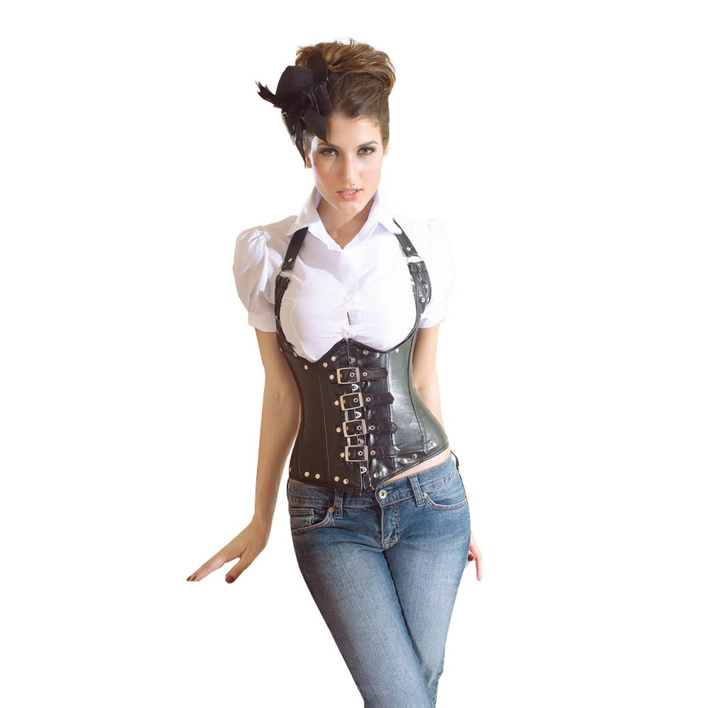 Muka Burlesque Leather Steel Boned Buckles Underbust Black Corset Top, Gift Idea at Sears.com