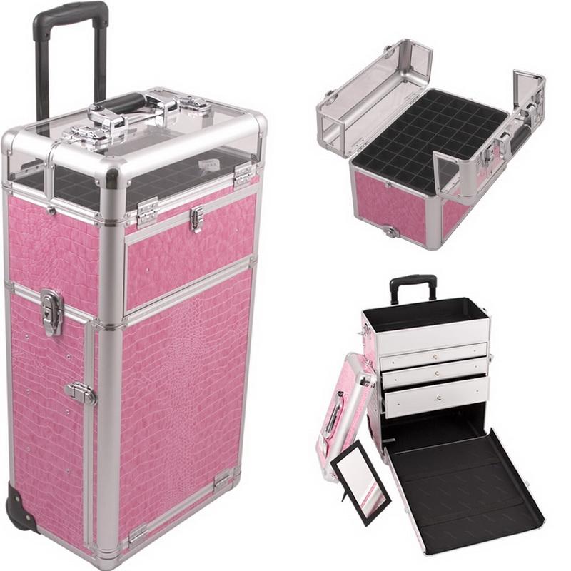 Sunrise I31063CRPK Pink Croc Trolley Makeup Case - I31063