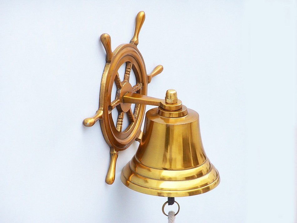 Handcrafted Model Ships BL-2026-1-BR Brass Hanging Ship Wheel Bell 7