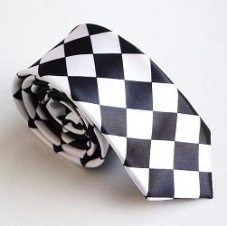 """Toptie """"TopTie Unisex Fashion Black & White Checkerboard Skinny Necktie, Discount Neckties"""""""