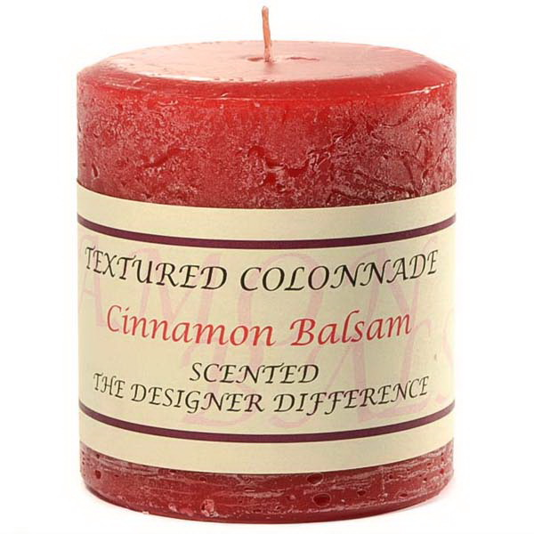 Keystone Candle Tex3x3-CinnBals Cinnamon Balsam 3 x 3 Textured Pillar Candles