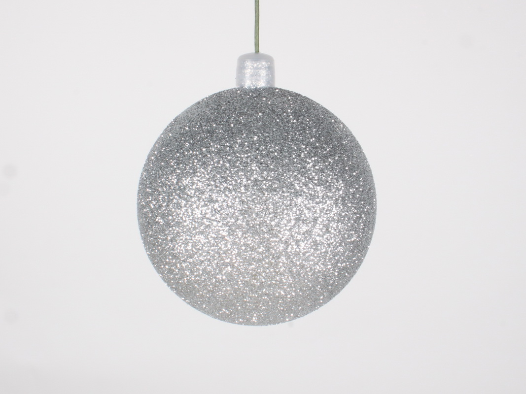 LEDgen (Price/pack of 12)LEDgen WL-ORN-BLKG-70-SLV-W 70MM Glitter Silver Ball Ornament W/Wire