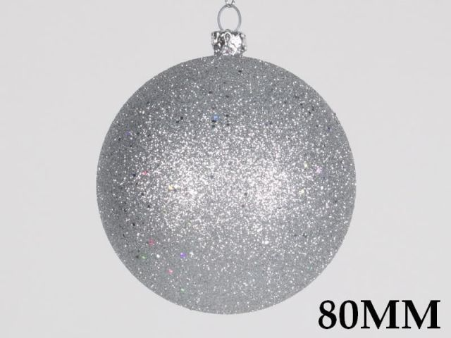 LEDgen (Price/pack of 12)LEDgen WL-ORN-BLKG-80-SLV-W 80MM Glitter Silver Ball Ornament W/Wire