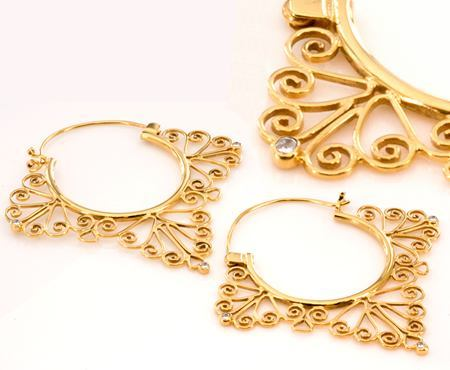 Painful Pleasures 18G Gold Plated Indonesia Misha Style Earrings - Price Per 2