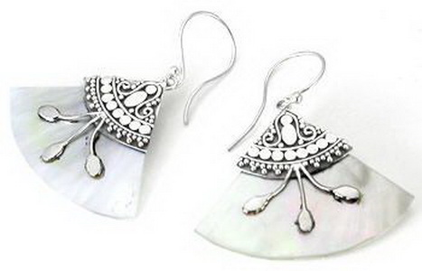 Painful Pleasures Mother Of Pearl Design # 4 Fan With .925 Sterling Silver Earrings - Price Per 2
