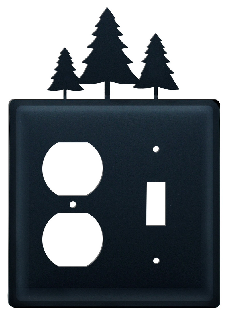 Village Wrought Iron (Price/Each)Village Wrought Iron EOS-20 Pine Trees Single Outlet and Switch Cover