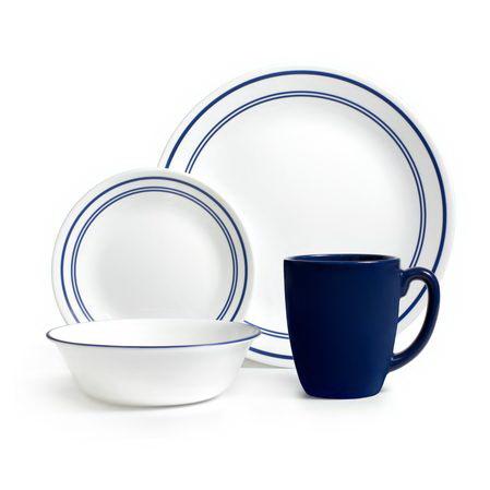 Corelle 1055607 Livingware Classic Caf Blue 16-pc Dinnerware Set