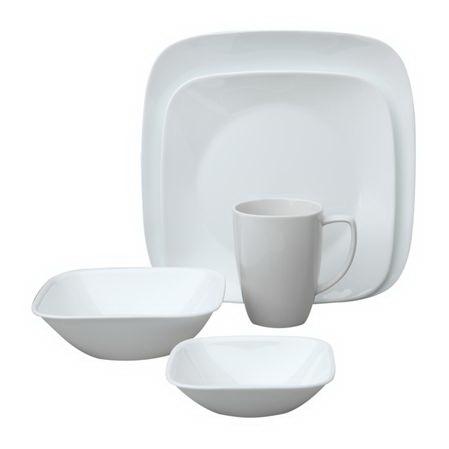 Corelle 1088664 Square Pure White 30-pc Dinnerware Set