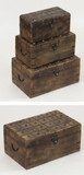 India Overseas Trading SH23351 Nested Box Set, Wooden Chests With Metal Straps and Rivets, Price/Set of 3