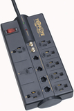 TRIPP LITE TLP810NET 8-Outlet Surge Suppressor with Telephone Protection (Telephone, DSL & Coaxial Protection)