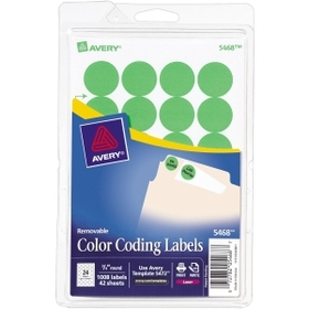 "Avery Round Color Coding Label, 0.75"" Diameter - 35/Sheet - RemovableLabel - Neon Green, Price/PK"