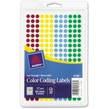 Avery See Through Round Color Coding Label, 860 Label - Red, Light Blue, Yellow, Green, Price/PK