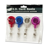 Baumgartens ID Card Reel With Belt Clip, Plastic - 4 / Pack - Assorted, Price/PK