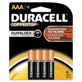 Duracell MN2400B4Z Alkaline General Purpose Battery, AAA - Alkaline - 1.5V DC, Price/PK