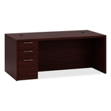 "HON Valido 11500 Series Rectangular Top Left Pedestal Desk, 72"" Width x 36"" Depth x 29.5"" Height - Single Pedestal on Left Side - Particleboard, Wood - Mahogany Top, Price/EA"