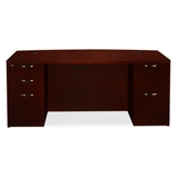 "HON Valido 11500 Series Double Bow Top Pedestal Desk, 72"" Width x 36"" Depth x 29.5"" Height - Double - Ribbon Edge - Particleboard, Wood - Mahogany Top, Price/EA"