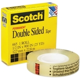 "Scotch Double-Sided Tape, 0.5"" Width x 900"" Length - 1"" Core - Double-sided, Photo-safe, Non-yellowing - 1 Roll - Clear, Price/RL"