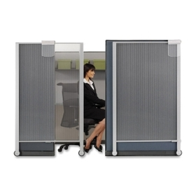 Quartet Workstation Privacy Screen, 38&quot; Width x 1.25&quot; Depth x 65&quot; Height - Plastic - Silver, Price/EA