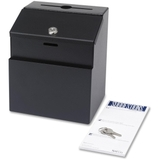 "Safco Suggestion/Ballot Box, 25 x Card - External Dimensions 8.50"" Height x 7.12"" Width x 6"" Depth - Steel - Black, Price/EA"