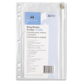 "Sparco Hole Punched Ring Binder Pockets, 6"" x 9.5"" - Vinyl - 1 Each - Clear, Price/EA"