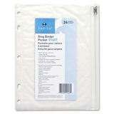 "Sparco Hole Punched Ring Binder Pockets, 8"" x 10"" - Vinyl - 1 Each - Clear, Price/EA"