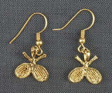Gold Plate Crossed Racquet Earrings