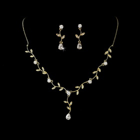 Elegance by Carbonneau N-2014-E-2657-Gold-Clear Necklace Earring Set N 2014 E 2657 Gold Clear