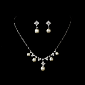 Elegance by Carbonneau N-2615-E-5248-Silver-Ivory Necklace Earring Set N 2615 E 5248 Silver Ivory