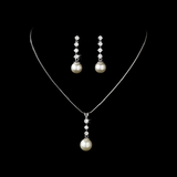 Elegance by Carbonneau NE-3626 Pearl and Cubic Zirconia Drop Jewelry Set NE-3626