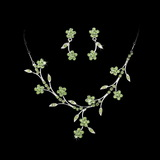 Elegance by Carbonneau NE-363-Silver-Green Necklace Earring Set 363 Silver Green