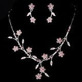 Elegance by Carbonneau NE-363-Silver-Pink Necklace Earring Set NE 363 Silver Pink