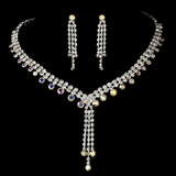 Elegance by Carbonneau NE-377-Silver-AB Necklace Earring Set 377 Silver AB