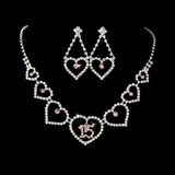Elegance by Carbonneau NE-460-15-Silver-Pink Necklace Earring Set 460 15 Silver Pink