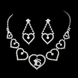Elegance by Carbonneau NE-460-16-Silver-Clear Necklace Earring Set 460 16 Silver Clear