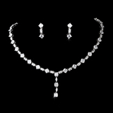 Elegance by Carbonneau NE-51022-Silver-Clear Necklace Earring Set 51022 Silver Clear