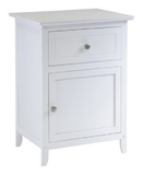 Winsome 10115 Night Stand/ Accent Table with Drawer and cabinet for storage, Color Finish: White