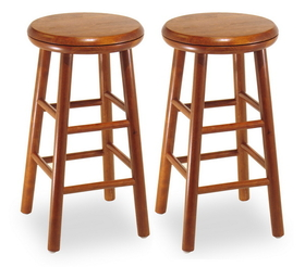 "Winsome 75234 Wood Set of 2, Swivel Seat, 24"" Stool, Assembled"