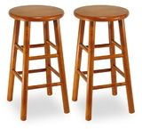 "Winsome 75284 Wood Set of 2, Beveled Seat, 24"" Stool, Assembled"