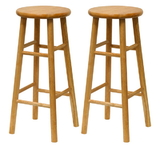 "Winsome 81780 Wood Set of 2, Beveled Seat, 29"" Stool, Assembled"