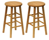 "Winsome 81784 Wood Set of 2, Beveled Seat, 24"" Stool, Assembled"